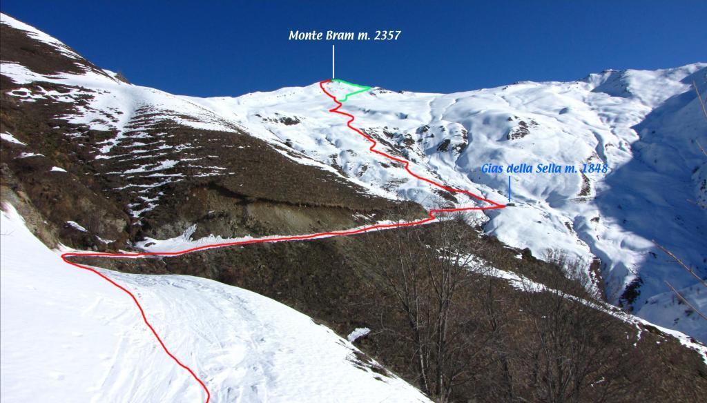 il tracciato della parte alta della via di salita