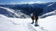 in discesa sui pianori della parte alta del versante SO del Bram (9-2-2013)