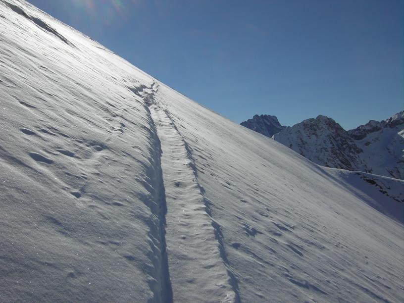 Un tratto del lungo traverso sottocresta lato Colle Marchiana.