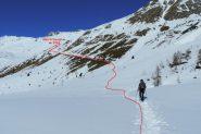 il traverso che porta verso l'Alpe di Vasoccia (2-3-2013)