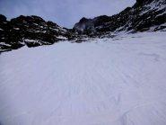 primo nevaio e fine parete, nubi  in arrivo
