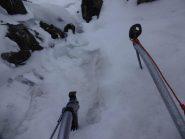 ghiaccio buono nel risalto tra 1° e 2° nevaio