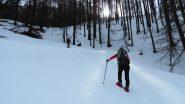 in salita nel primo bosco sopra Bousson (6-4-2013)