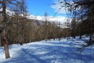 il pianoro di quota 1835 m. salendo lungo il versante Ovest della Cima delle Liste (13-4-2013)
