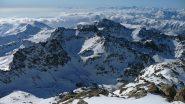 Al centro foto il versante nord della Dante vista dalla Fiume