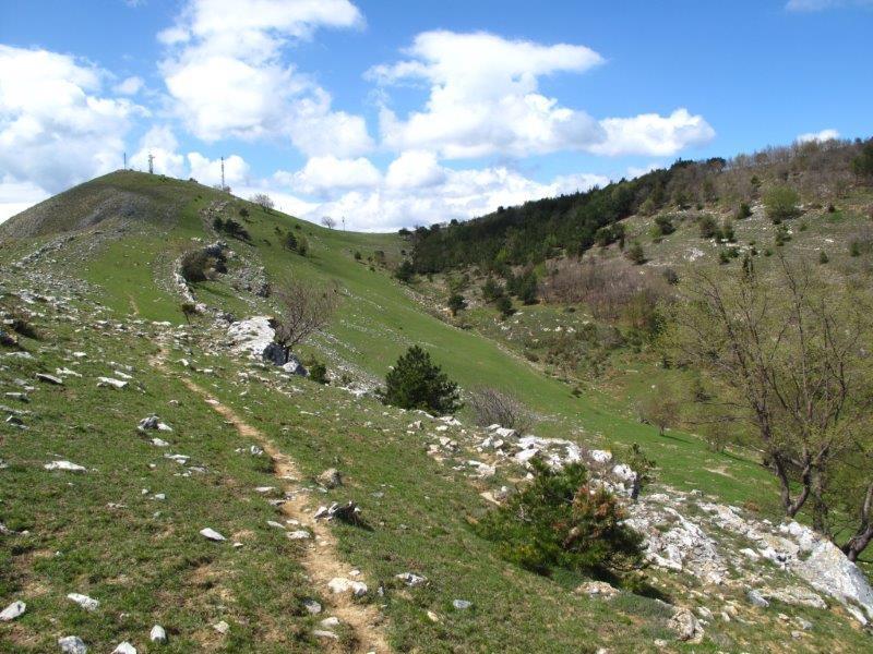 Il Poggio Ceresa e a destra il colletto e i prati da dove è possibile scendere in Valle Ibà col segnavia P1 e cerchio rosso