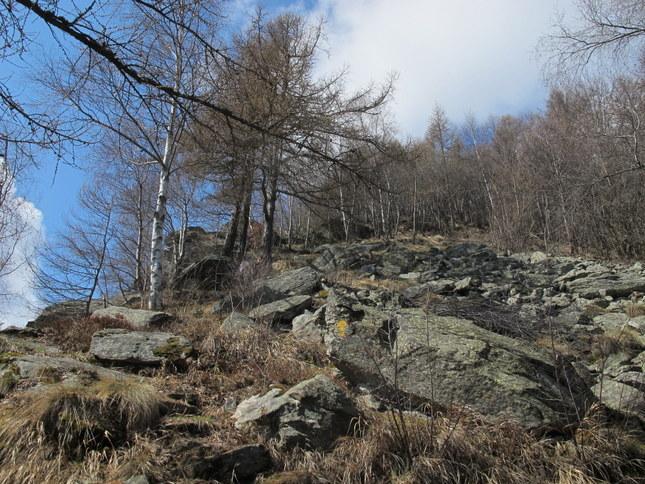 Un tratto del ripido sentiero per Cormoney