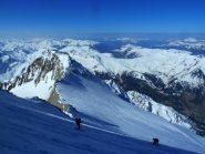 Aiguille e Col de la Bérangère visti dal Glacier d'Armancette scendendo dal Dome de Miage