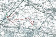Sulla carta TCI, riportato in rosso, il percorso seguito. In verde la possibile estensione