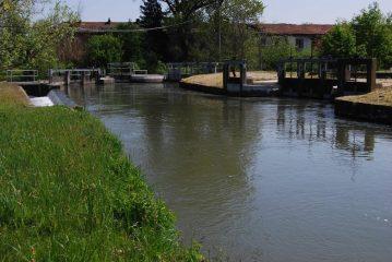 Il nodo della Colombara con i tre diramatori del Navilotto: il Canale di Rive (prima presa a destra), il Canale Magrelli (centro) e Rio Acquanera (in fondo)