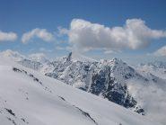 dalla cima:  al centro le Petit Rochebrune, sulla destra in primo piano il Pic Lombard