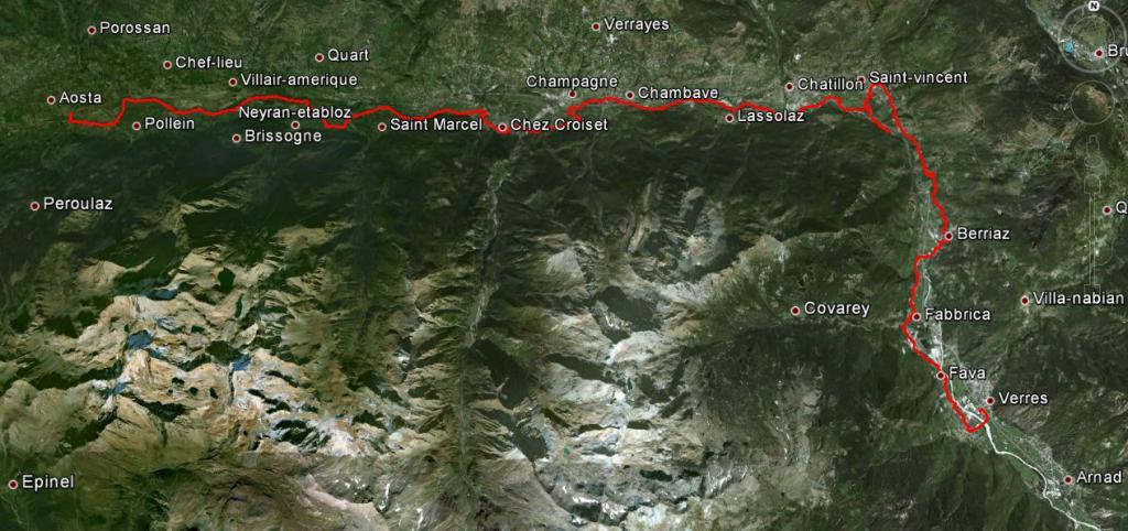 Aosta - Verres percorso