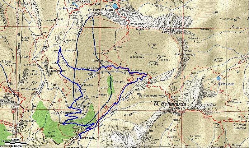 cartina con il giro di oggi in blu.