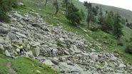 ...passaggio in traverso su pietraia...