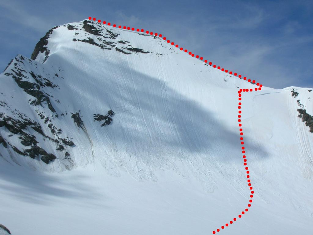 la parete nord con l'itinerario di salita