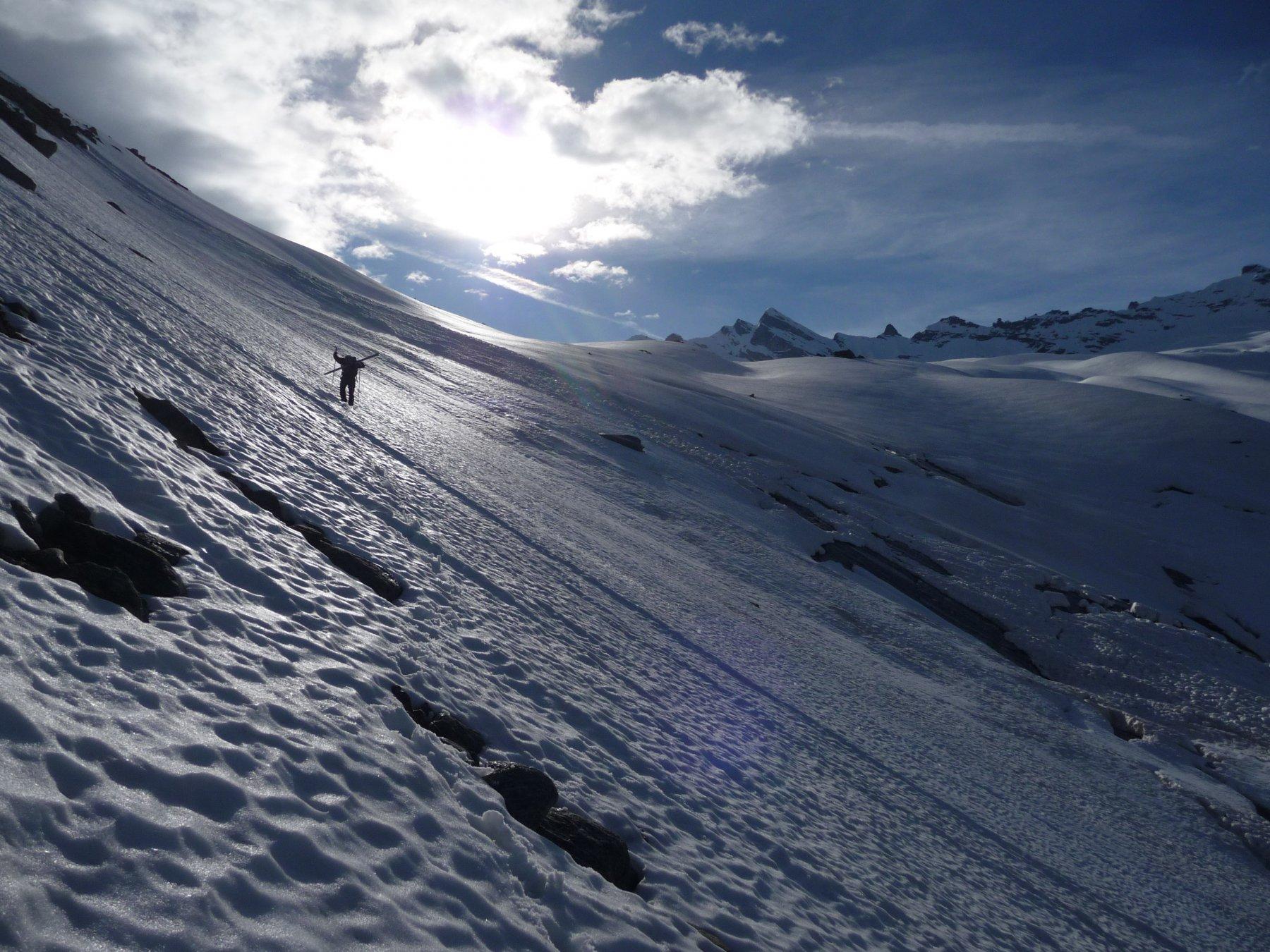 parte superiore del Vallon du Ruisseau all'attacco del Glacier du Mulinet