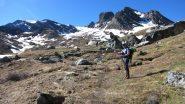 in salita nel Vallone Clausis a quota 2550 m. (23-6-2013)