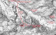 mappa IGN tratta da foglio 3637 OT Monviso e via di salita seguita