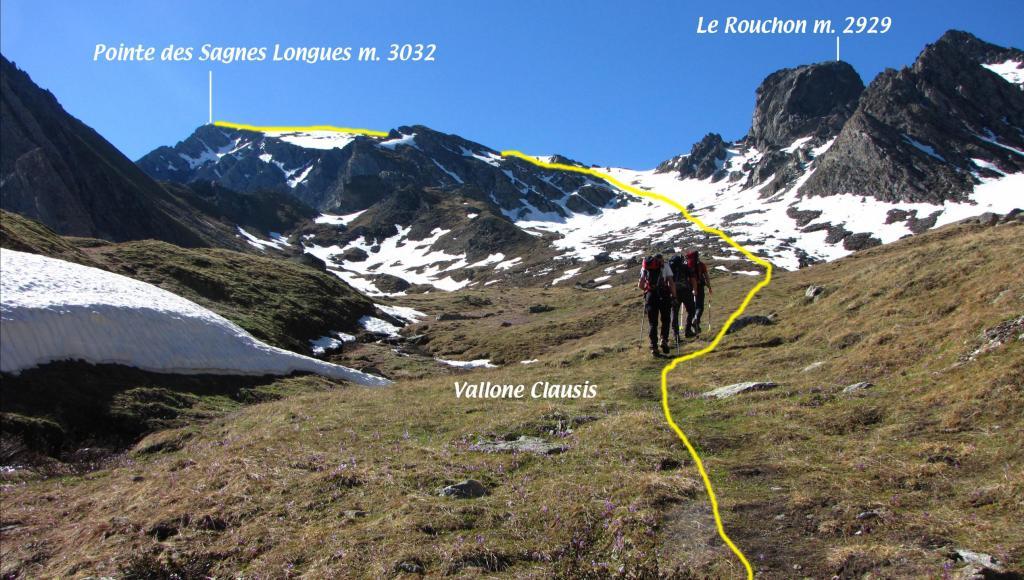 la via di salita seguita nel Vallone Clausis (23-6-2013)