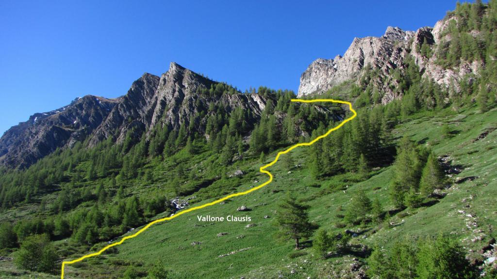 la prima parte del pendio erboso iniziale del Vallone Clausis (23-6-2013)