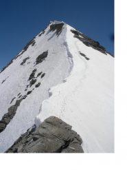 La facile e nevosa cresta sud.ovest dalla Bocchetta Avril..