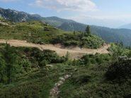 Il tratto di pista che scende all'Alpe Grangeas