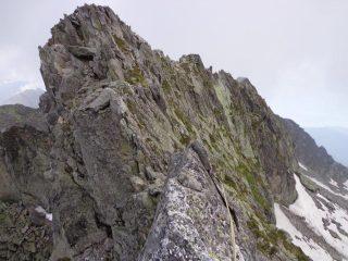 la cima del Ledù ed in primo piano la lama di II+
