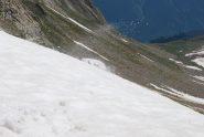 Il blocco di neve che, staccatosi sopra la nostra testa, precipita a valle