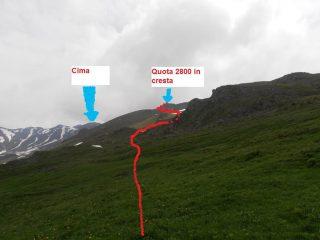 08 - dall'alpeggio la direzione da seguire per evitare i ghiaioni