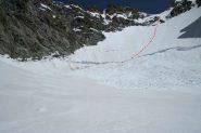 Discesa, con gli sci evitato imbuto centrale, sul ghiacciaio crema!!!
