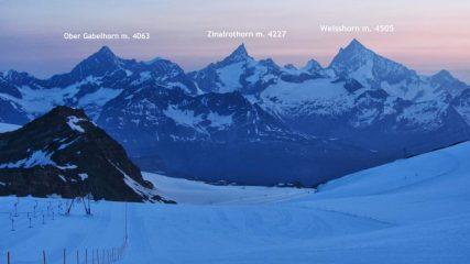 le prime luci dell'alba al Plateau Rosa...spettacolare! (14-7-2013)