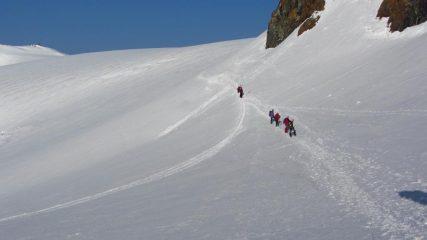 in discesa dal Colle del Breithorn (14-7-2013)