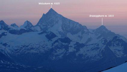 prime luci dell'alba sul Weisshorn (14-7-2013)