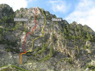 i due itinerari della parete dei rastelli