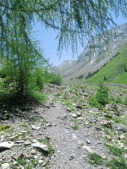 Il vallone percorso, quasi al termine del lunghissimo traverso