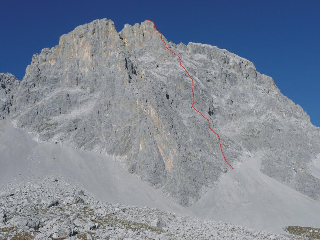 la parete e il tracciato della via