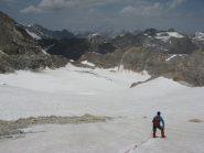 Fase della discesa sul ghiacciaio di Sotses