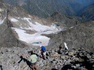 dalla cima vista sul lago Bianco del Gelas