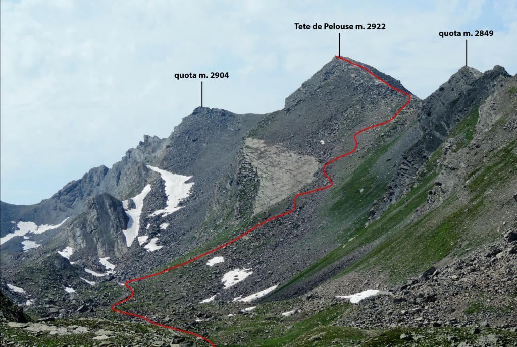 la parte alta dell'itinerario di salita alla Tete de Pelouse (7-8-2013)