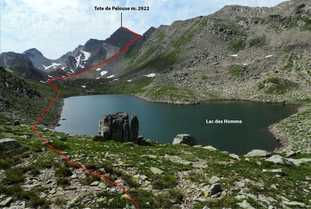 secondo dei Lacs des Hommes e via di salita che si vede decisamente bene (7-8-2013)