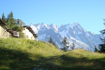 baite nel vallone Arp sullo sfondo la  cresta Jorasses