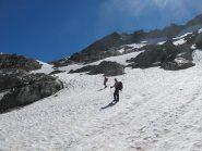 Il primo tratto di ghiacciaio dopo il colle