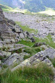 il breve tratto percorso in arrampicata visto dall'alto