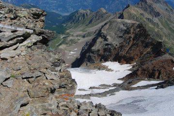 Il Ghiacciaio del Paramont visto dalla  vetta
