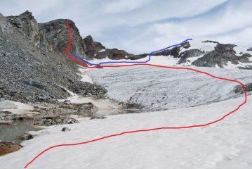 Viste dai piedi del Ghiacciaio di Uselettes: la via di salita al Paramont (rosso) ed alla Becca Bianca dal Col di Uselettes (blu)