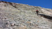Enrico sale il primo tratto delle placconate che portano al ghiacciaio (17-8-2013)