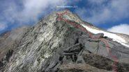 la cresta Est del Basodino vista dalla sella di quota 3014 m. (17-8-2013)
