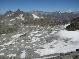 La conca glaciale dove avviene il traversone di salita