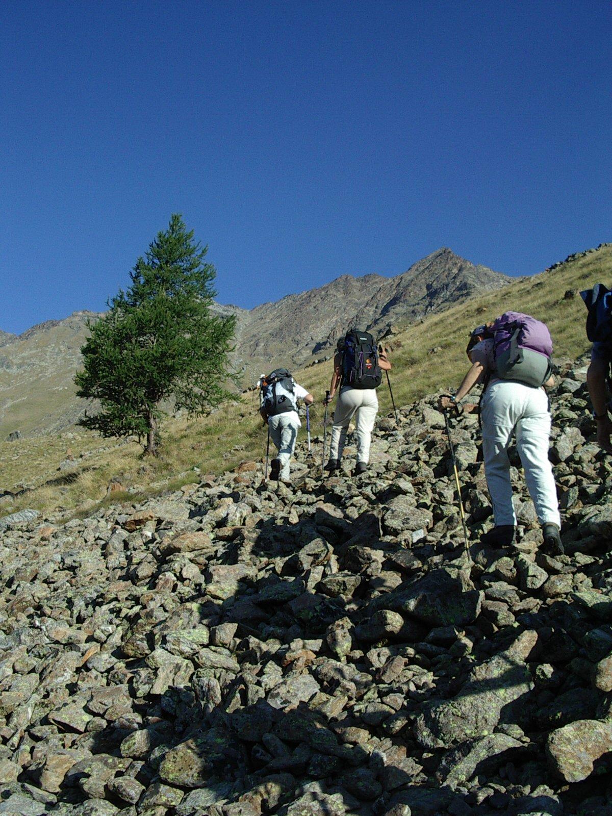 nel tratto di traverso ripido, dopo le Alpi Grauson