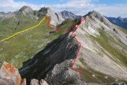 Visti dalla croce il percorso di andata (rosso) e ritorno (giallo)